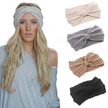 Amazon.com  4 Pack Women Elastic Turban Head Wrap Headband Twisted ... ae8ac8b7598