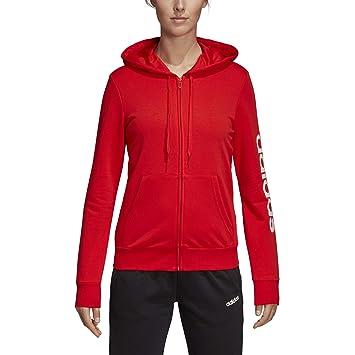 c97d9ba402 adidas Essentials Linear Veste à Capuche Femme, Active Red/White, FR (Taille