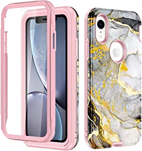 LONTECT for iPhone XR Case with Built-in Screen Protector Marble Design Rugged Shockproof Hybrid Full Body Protective Case Cover for Apple iPhone XR 6.1 2018, Grey/White Marble