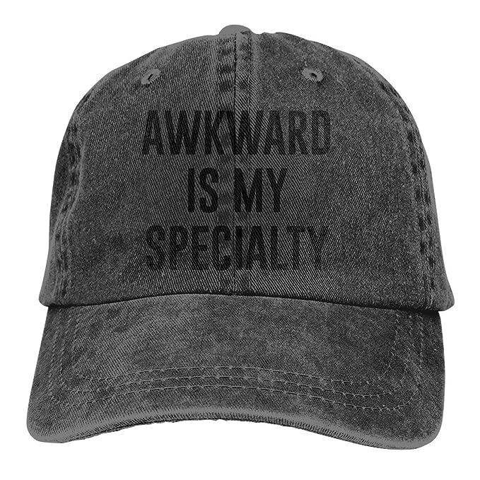 Awkward is My Specialty Denim Hat Adjustable Men Vintage Baseball ... f5ead1caa89