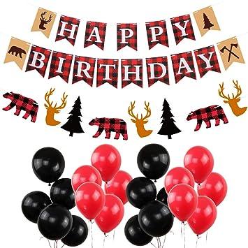 Amazon Com Lumberjack Happy Birthday Party Decorations New Year