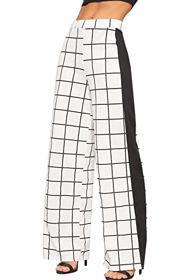 1f4c93f051f WearAll Women s Square Checked Print Wide Flared Leg Side Stripe Palazzo  Trousers Ladies - White - US 2 (UK 6) at Amazon Women s Clothing store