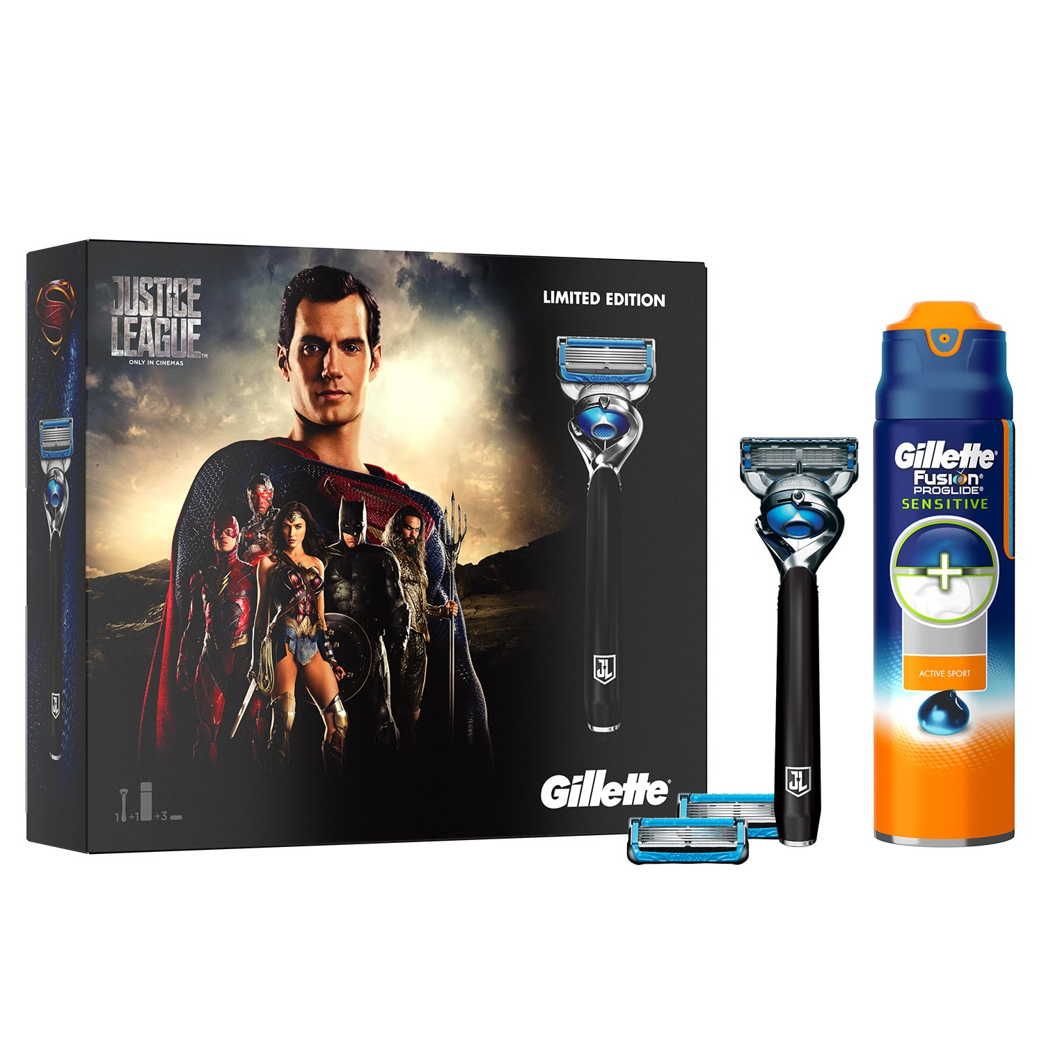 Gillette Fusion ProShield Chill Razor Justice League Edition Gift Set/2 x Blade Refills and Sensitive Shaving Gel Procter & Gamble 81628139