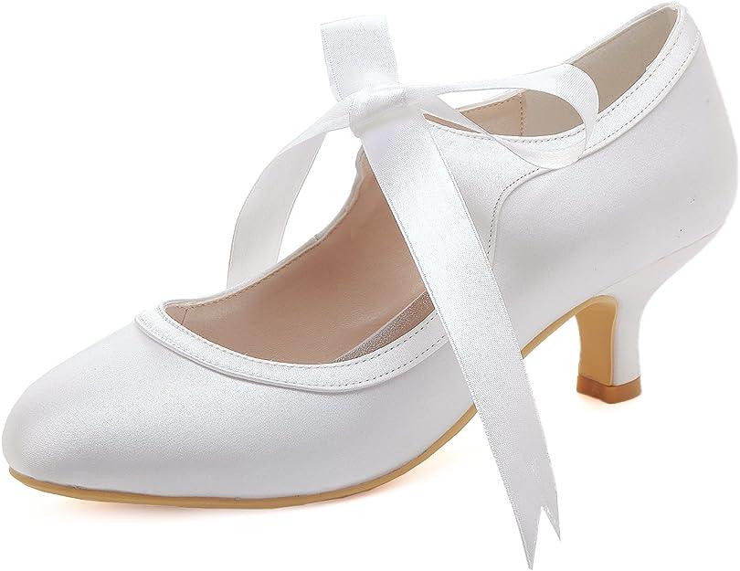 TALLA 41 EU. Elegantpark HC1803 Mujer Mary Jane Zapatos Novia Tacón Medio Cerrados Zapatos Novia Raso Cinta Satén