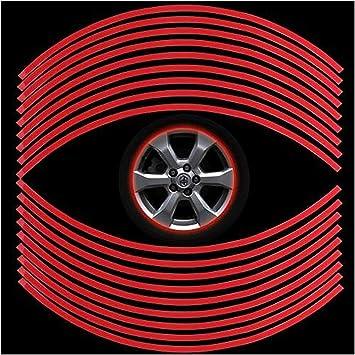 Sungpunet - Pegatinas Reflectantes de 18 Ruedas, universales, Reflectantes, Cinta Adhesiva, película Decorativa, para Coche, Bicicleta, Motocicleta, 6 mm (Rojo): Amazon.es: Coche y moto
