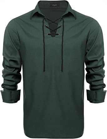 JINIDU - Camisas escocesas para hombre de Jacobite Ghillie Kilt camisas casual de manga larga con cordones, camisas de disfraz de pirata renacentista medieval Verde De Color Verde Oscuro XL: Amazon.es: Ropa