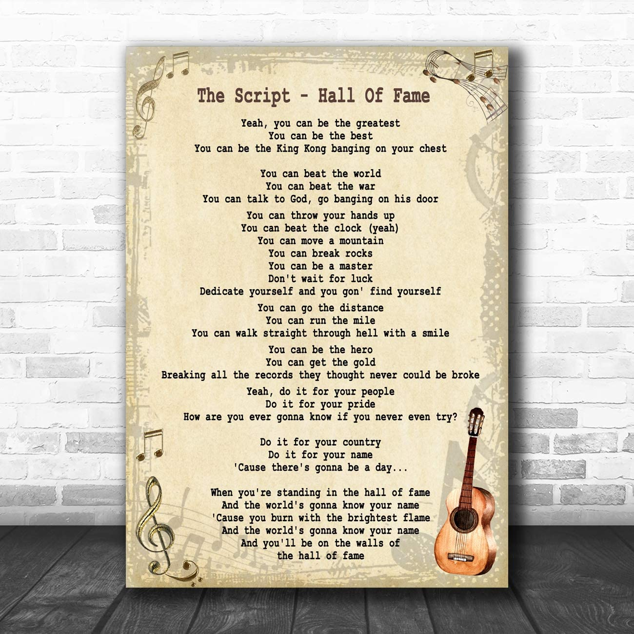 Just Say Yes Vintage Script Song Lyric Quote Print