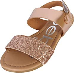 bebe Girls Metallic Sandals with Chunky Glitter Strap (Little Kid/Big Kid)