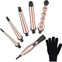 BESTOPE 5 in 1 Lockenstab Set Rosa Gold Lockenwickler Kit mit 5 Austauschbaren Keramik Turmalin Fässern und hitzebeständigem Handschuh,Dual Voltage, Cool Tips