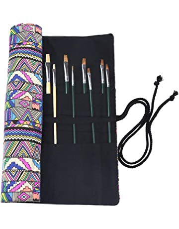 20 Slots Artist Paint Brushes Holder with Roll Up Canvas Painting Brushes or Pencil Holder Organizer for Colored Pencils Art Supplies