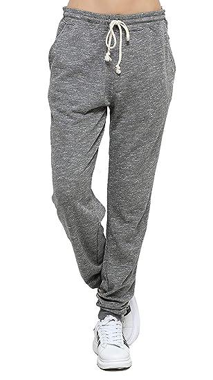 2bd15e4a7b5 Jogging Femme Coton Sport Pantalon Gris en Maille Coton avec Cordon de  Serrage Taille Haute Elastique