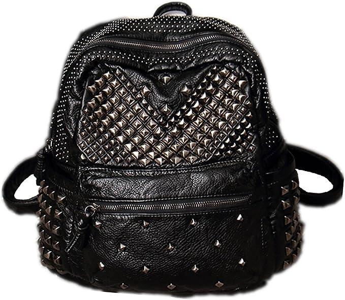 Damen Rucksack PU Leder Rucksack Damen Leder Tasche Backpack Schulrucksack mit Mode Nieten Design für Mädchen (Schwarz)