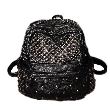 23934d873210f Damen Rucksack PU Leder Rucksack Damen Leder Tasche Backpack Schulrucksack  mit Mode Nieten Design für Mädchen