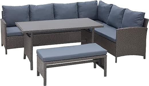 Outsunny Conjunto 4 Piezas Muebles de Ratán con Cojines para Jardín o Terraza Patio 2 Sofá 1 Mesa 1 Banco de Exterior Tubo de Hierro Gris: Amazon.es: Jardín