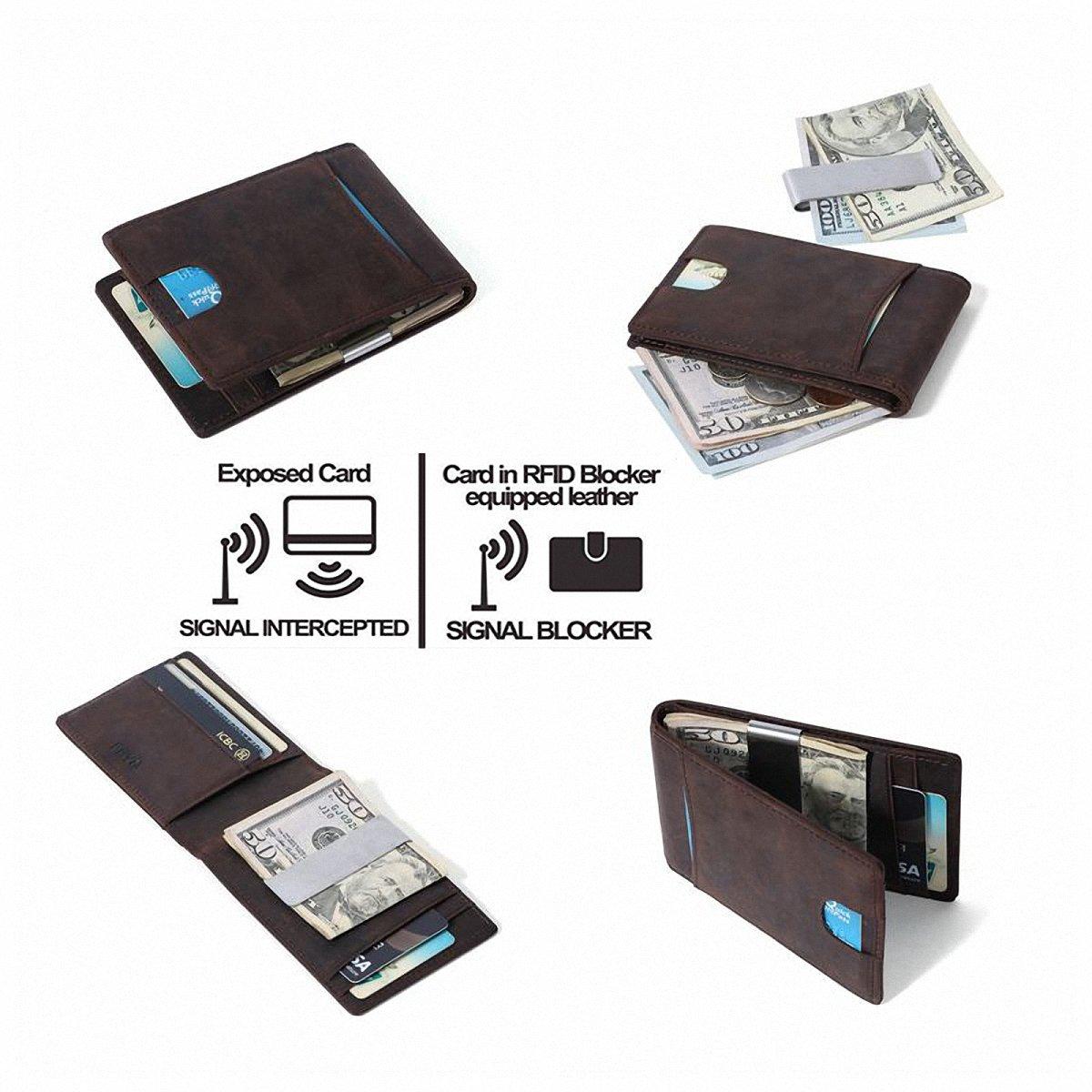 Cartera Hombre Con Monedero,Billetera Hombre Pequeña,Tarjetas de Crédito Slim Moda RFID Bloqueo Monedero de Cuero para Cartera ID,RFID para hombre Estilo ...