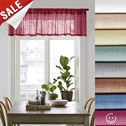 Amazon Linen Textured Sheer Curtain Valance For Bedroom 16 Inches Long Rod Pocket Curtains Living Room 1 Panel Burgundy Home