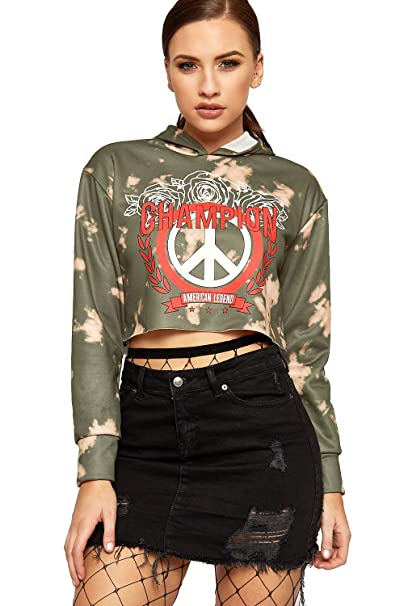 c44b967c4 WEARALL Women's Hooded Cropped Top - Green - US 8-10 (UK 12-14) at ...