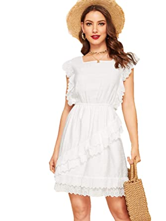 32696c1882 Romwe Women s Elegant Ruffle Trim Eyelet Embroidered V Neck Wrap Short Dress  White  XS