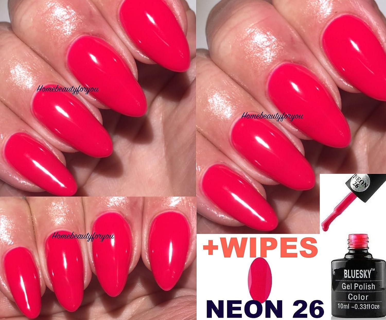 Bluesky Neon 26 Bright Red Majestic Pink Nail Gel Polish UV LED Soak ...