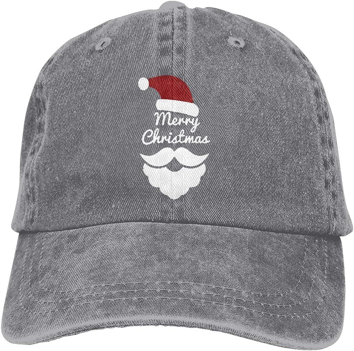 Merry Christmas Hat Men Women Vintage Jeans Trucker Hat Gray