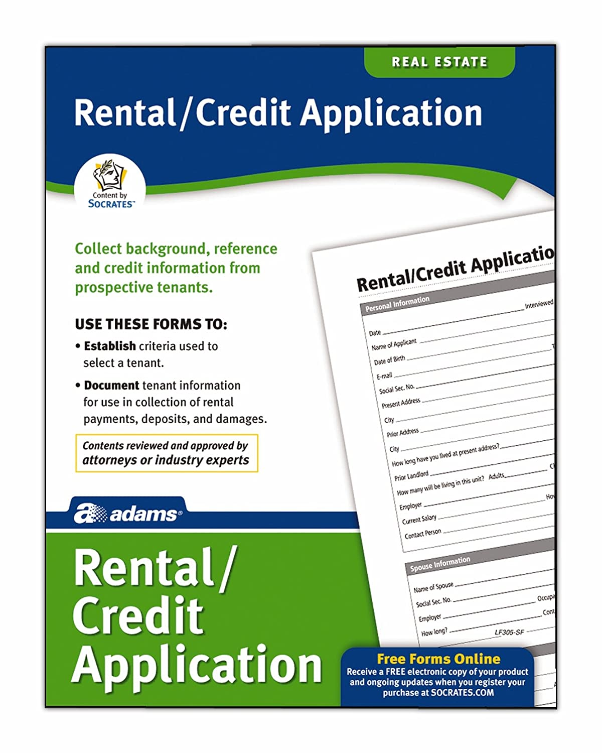 Adams Rental and Credit Application Form, 8.5 x 11 Inch, White (LF305) TOPS Business Forms Inc.