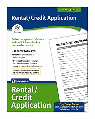 AmazonCom  Adams Rental And Credit Application Form  X