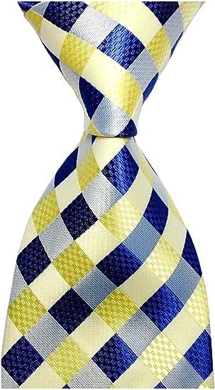 New Classic Polka Dot Yellow Blue JACQUARD WOVEN 100/% Silk Men/'s Tie Necktie