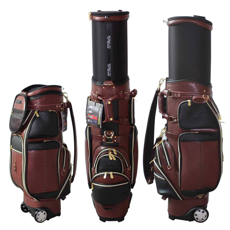 kofullゴルフクラブGenuineレザーWheeled Bag Store 13 clubsゴルフスタンドCarry Bag for Men B07B94R6CV ブラウン