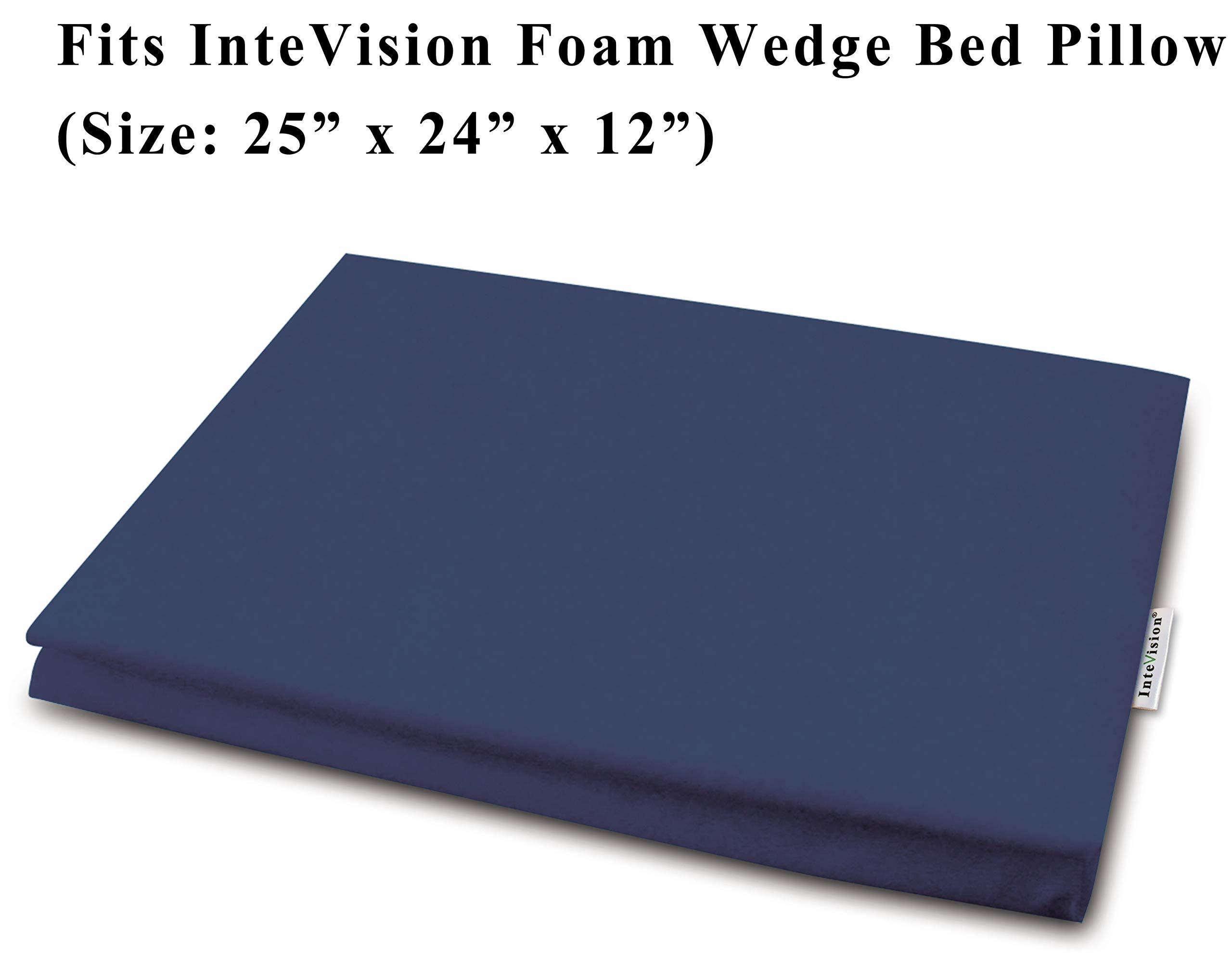InteVision 400 Thread Count, 100% Egyptian Cotton Bed Wedge Pillowcase; Replacement Cover Designed to Fit the 12'' (Height) Version of the InteVision Foam Wedge Bed Pillow (25'' x 24'' x 12'')