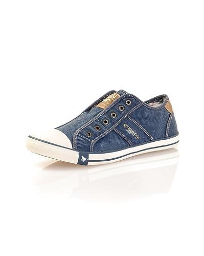 Délavées Couleur Sans Baskets Denim Mustang Shoes Bleu Lacets FnwTqOt1YO