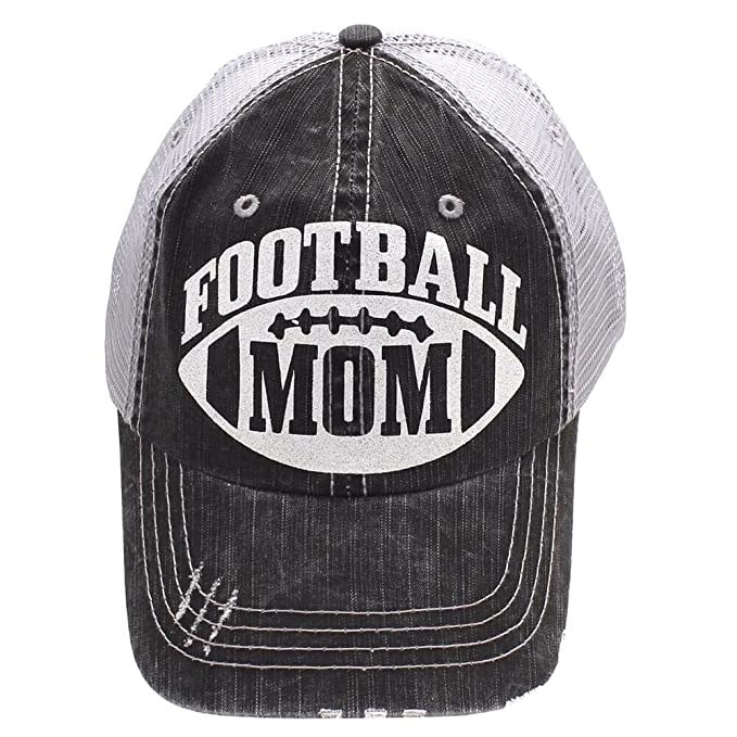 Show Me Country Hats Gray Football Mom Hat Trucker Style White Glitter 3210415566a