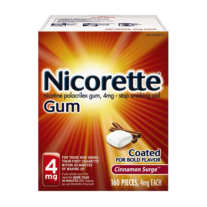 Nicorette Nicotine Gum to Quit Smoking, 4 mg, Cinnamon Surge Flavored Stop Smoking Aid, 160 Count by Nicorette