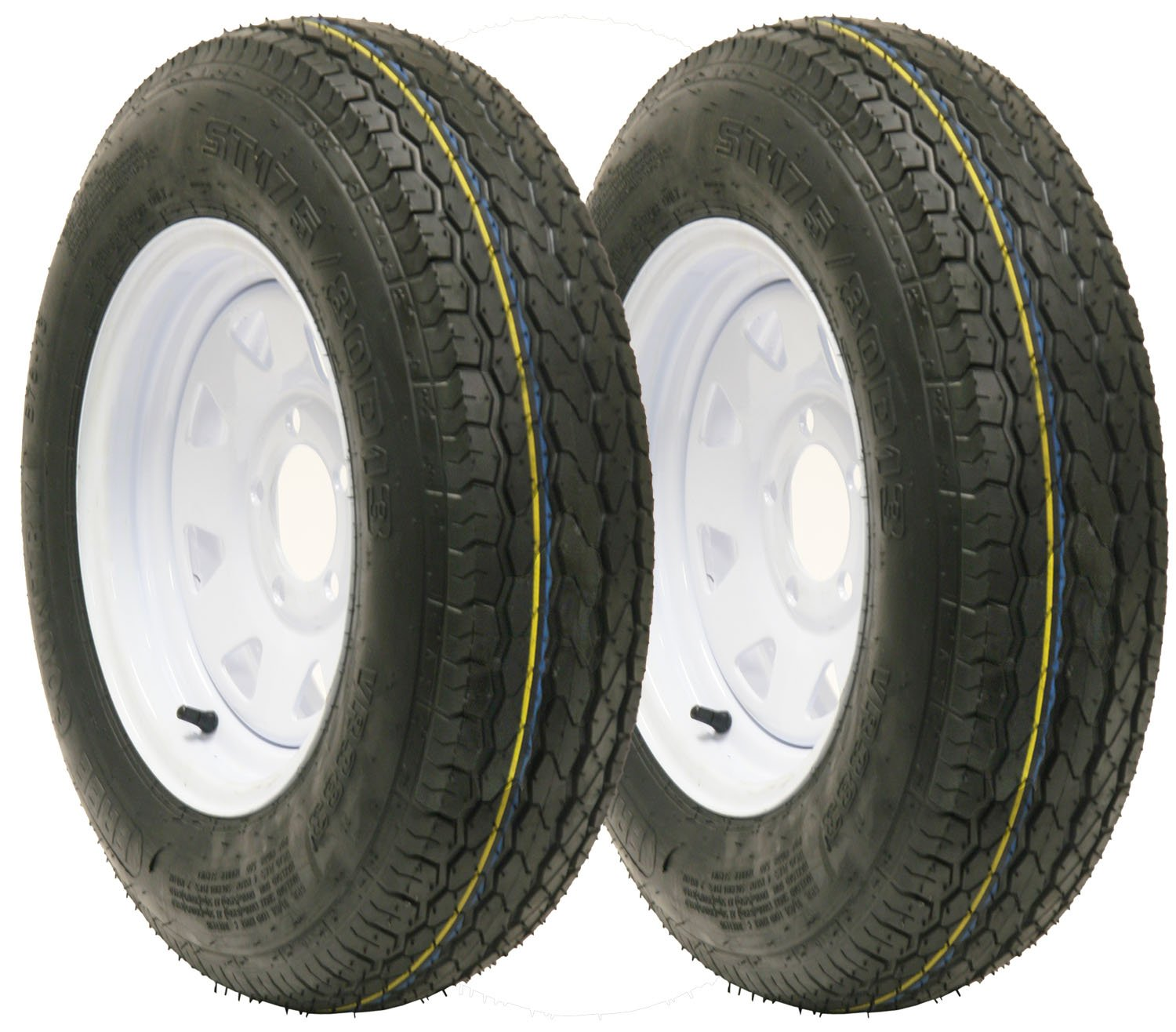 2 New Trailer tire wheel assembly ST175/80D13 8PR on 13'' 5 lug white spoke wheel-15011 by Free Country (Image #1)