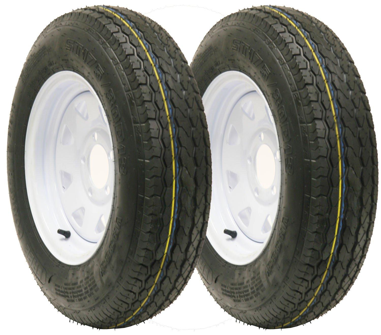 2 New Trailer tire wheel assembly ST175/80D13 8PR on 13'' 5 lug white spoke wheel-15011