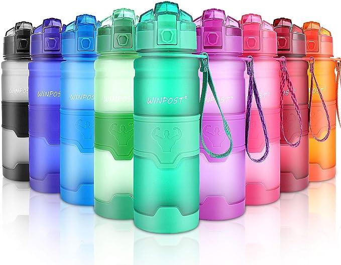 Image of WIN-POST Botella de Agua Deporte 500ml/700ml/1l, sin bpa tritan plastico, Reutilizables a Prueba de Fugas Botellas Potable con Filtro para niños, Colegio, Sport, Gimnasio, Trekking, Bicicleta