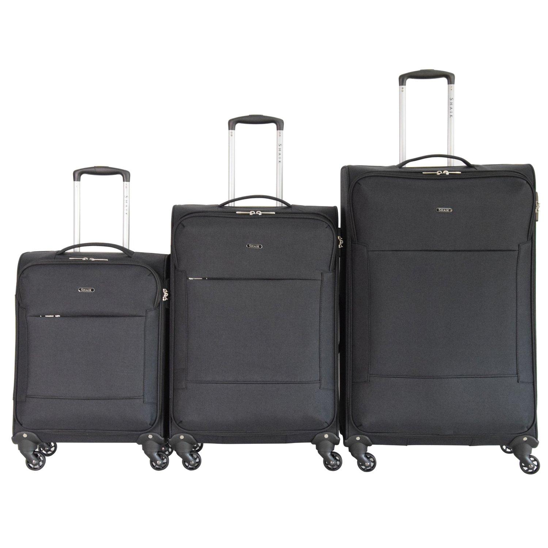 Shaik Serie FLEDER Design PVG 3 Größen M | L | XL | Set | Softcase Weichgepäck Kofferset, 4 Doppelrollen, Zahlenschloss … (Set, Schwarz) SHE002