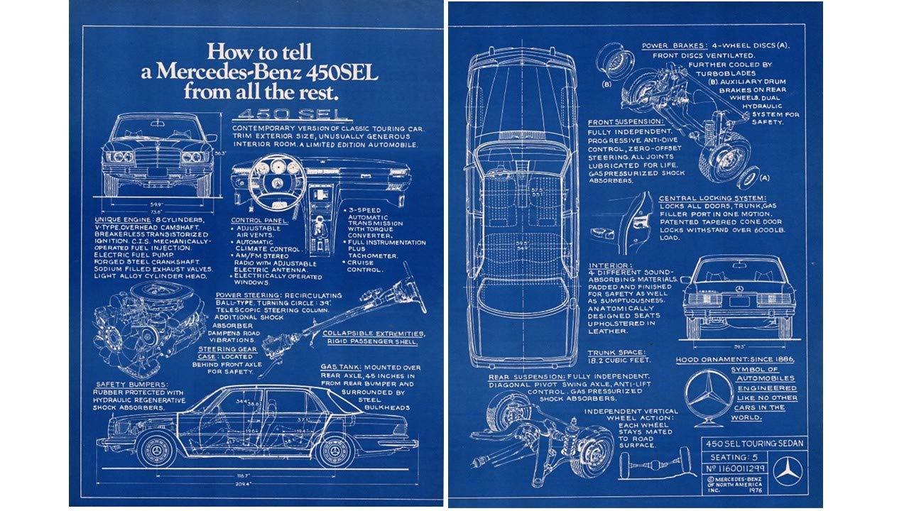amazon com: magazine print ad: 1976-1977 mercedes 450sel, blueprint diagram,