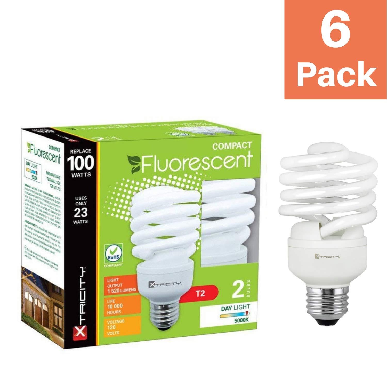 Compact Fluorescent Light Bulb T2 Spiral Cfl 5000k Daylight 23w