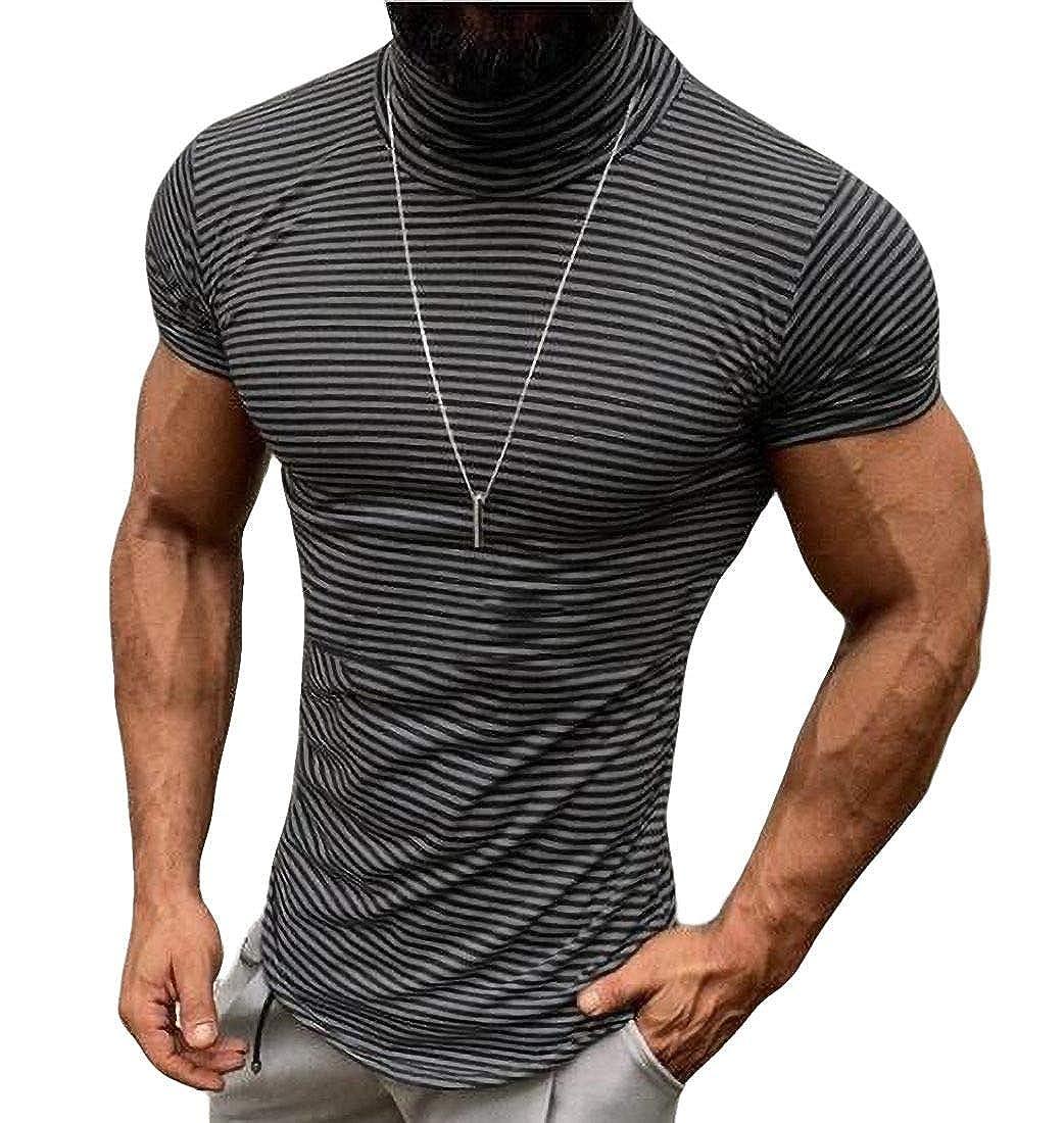 Domple Men Stripe Print Slim Fit Short Sleeve Summer T-Shirt Tee Top