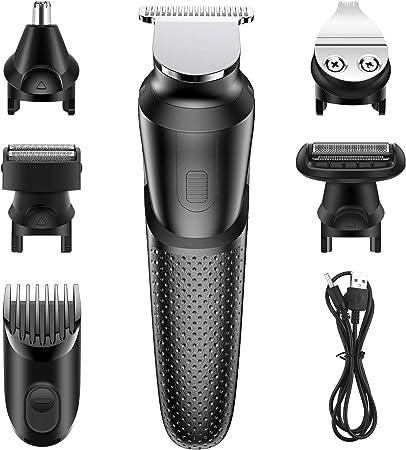Babacom Cortapelos Profesional Hombre, 5 en 1 Multifuncional USB Recargable Cortapelos Hombre Reforzar Poder, Recortadora Barba con Peines de Guía