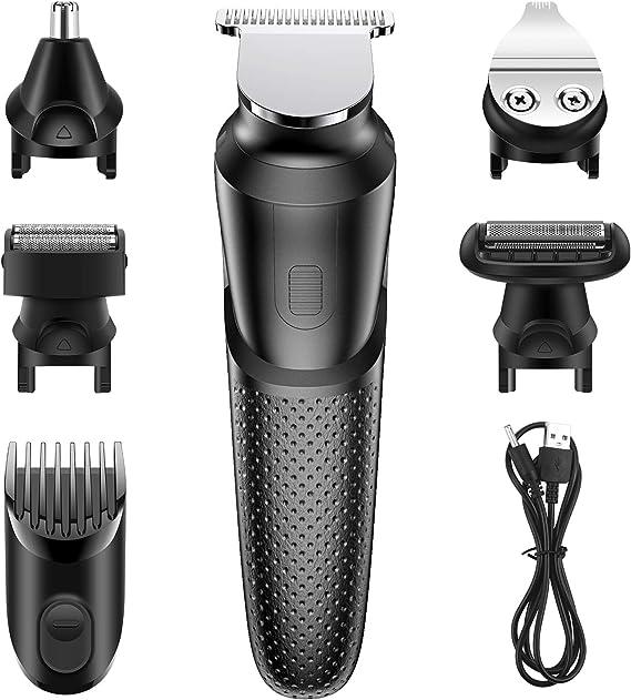 Babacom Cortapelos Profesional Hombre, 5 en 1 Multifuncional USB Recargable Cortapelos Hombre Reforzar Poder ...
