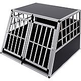 Cage de transport pour chien en aluminium noir 104x91x69cm 33