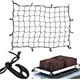 "Tebery Cargo Net with 12 Hooks Elasticated Bungee Cargo Net Auto Roof Tie-Down Net Heavy Duty Truck Bed Net (47"" x 36"")"