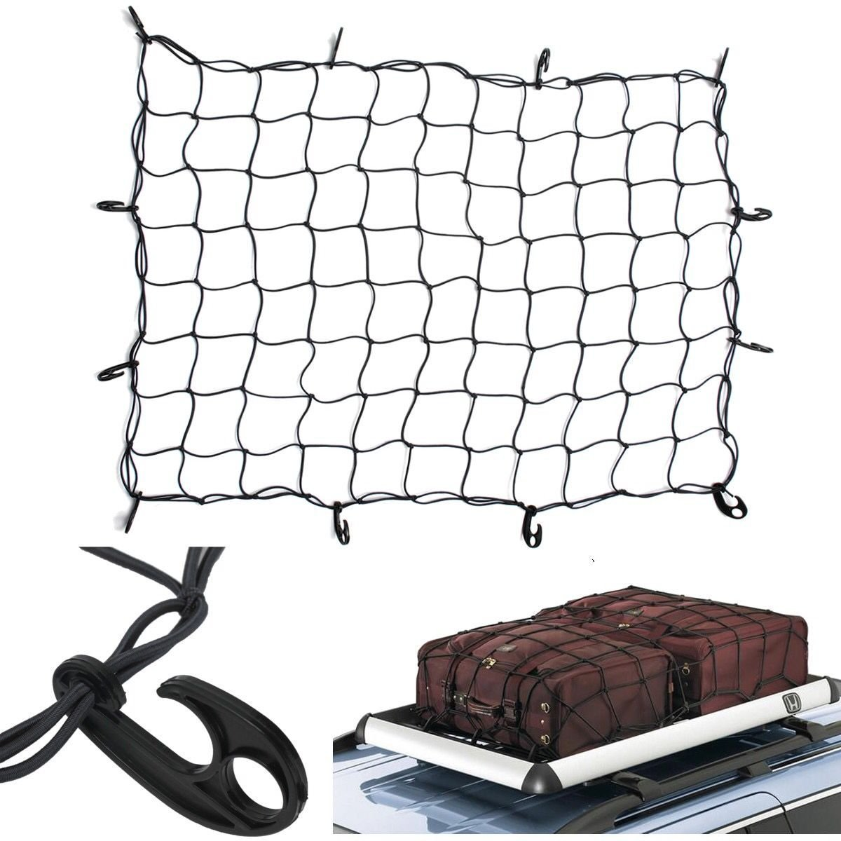 Tebery Cargo Net with 12 Hooks Elasticated Bungee Cargo Net Auto Roof Tie-Down Net Heavy Duty Truck Bed Net (47' x 36')