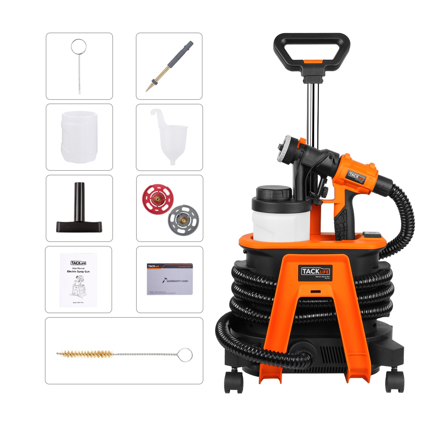 TACKLIFE Paint Sprayer, 800W High Power HVLP Home Electric Spray Gun with 3 Nozzle Sizes, 3 Patterns, 1100ml/Min,  Adjustable Valve Knob, Easy Spraying and Cleaning