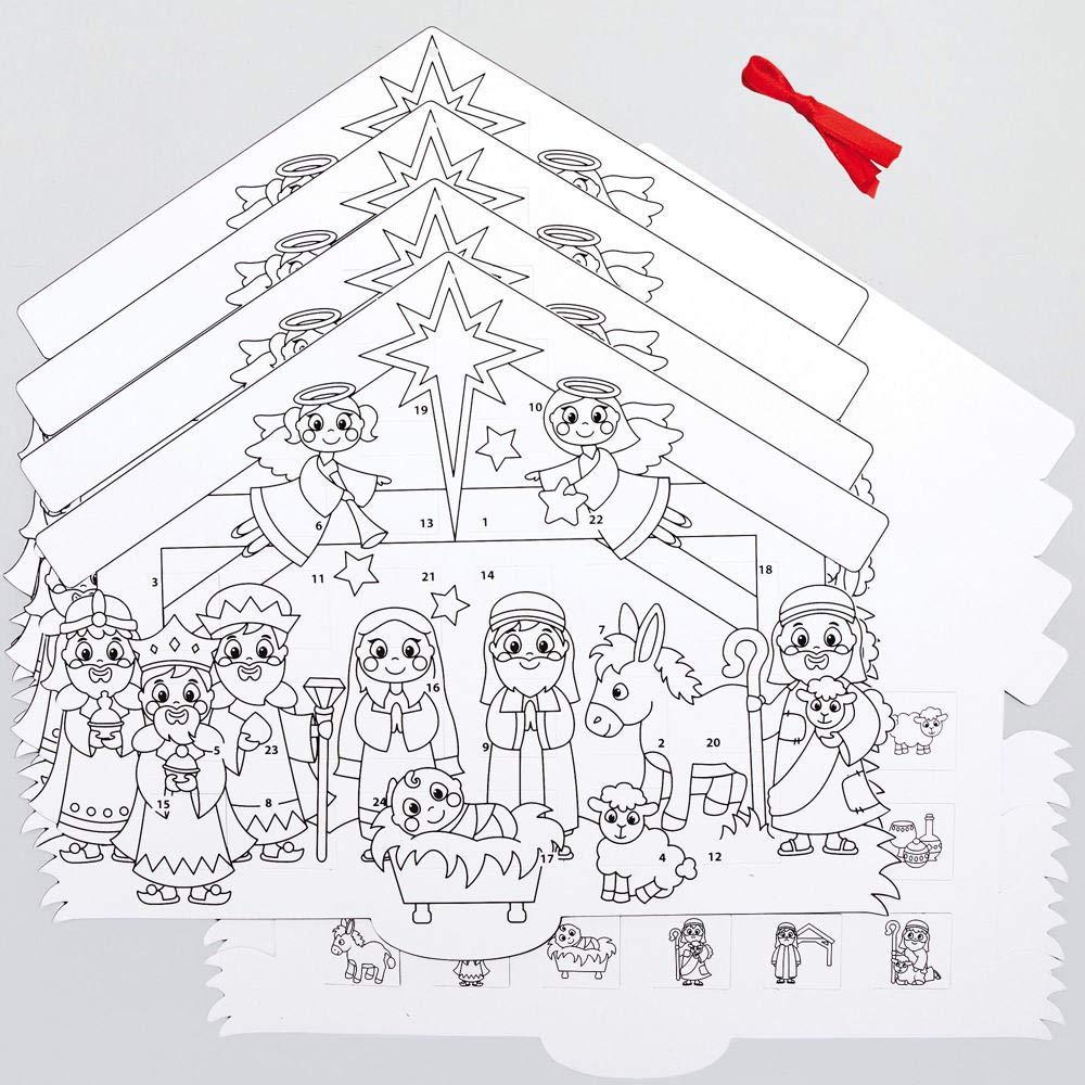 Baker Ross AX580 Weihnachtskrippe Adventskalender Bastelset für Kinder - 4 Stück, Festliche Kreativsets und Bastelbedarf zum Basteln und...