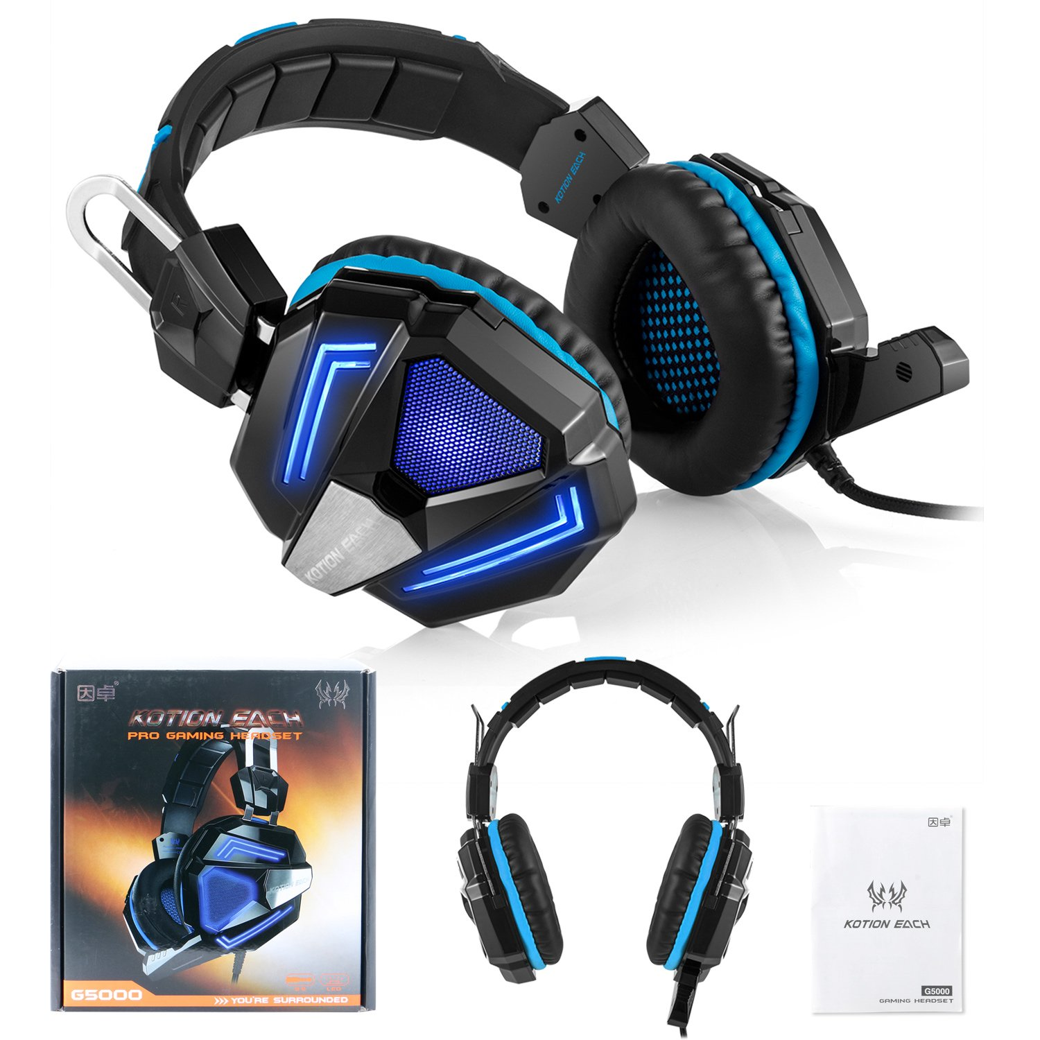 Zakitane KOTION EACH G5000 3.5mm PC Stereo Gaming Headset, Bass Headphones, Comfortable Headband with Microphone, Over-ear fit with Noise isolation, Breathing LED Light for Laptops or Computers