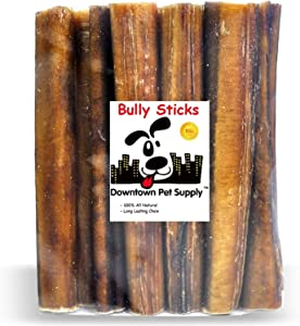 Downtown Pet Supply 6 and 12 inch Premium All Natural Beef Bully Sticks, Jumbo Extra Thick Dog Dental Chew Treats - No Grain, High in Protein, Low in Fat