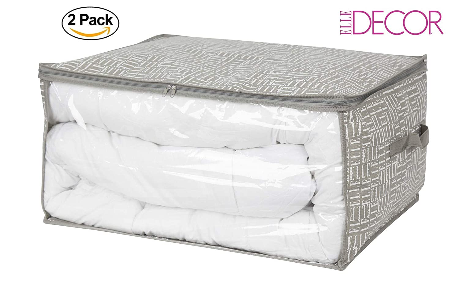 Elle Decor Blanket Storage Bag Closet Under Bed Storage Bag Set of 2 Dependable industries Inc