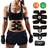 Rechargeable Abdominal Muscle Toner,CHARMINER ABS Trainer Body Fit Toning Belt,Portable Unisex Fitness Training Gear,Wireless Muscle Exercise For Abdomen/Arm/Leg Training Men & Women Workout Equipment